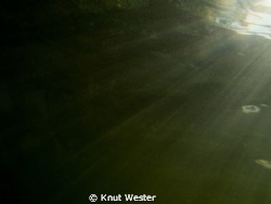 rays from the son hiting my canon g12 in a freshwater lake by Knut Wester 